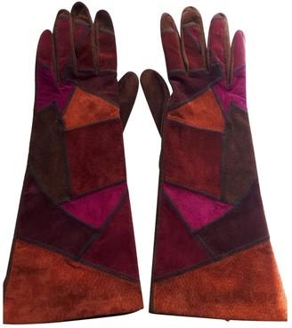 Saint Laurent Multicolour Suede Gloves