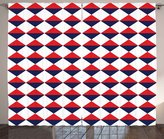 Americana Decor Curtains by Ambesonne, Half Triangles Diamond Shapes Retro Navy Inspired Art Print, Living Room Bedroom Window Drapes 2 Panel Set, 108W X 108L Inches, Red Dark Blue and White