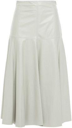 Drome Flared Leather Midi Skirt