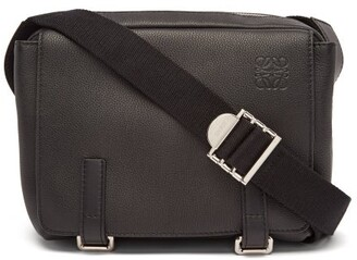 Loewe Grained Leather Messenger Bag - Black