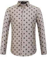 SSLR Men's Straight Fit All Over Print Long Sleeve Shirt