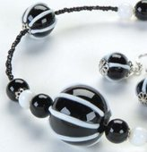 UG Black White Globes Necklace Adornment Pendant Jewel Jewelry Accessory