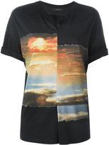 Cédric Charlier pleated sky print T-shirt - women - Cotton - 42