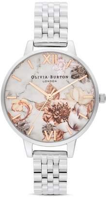 Olivia Burton Marble Florals Link Bracelet Watch, 34mm