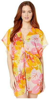 Echo New York Cutout Floral Kimono Cover-Up (Pink Hibiscus) Women's Swimwear