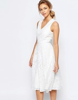 Ted Baker Deep V Bonded Mesh Lace Dress