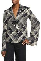 Co Plaid Hammered Silk Bell-Sleeve Blouse, Black/Ivory