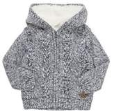 F&F Cable Knit Borg Lined Hooded Cardigan, Boy's
