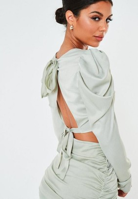 Missguided Mint Co Ord Satin Puff Sleeve Crop Top