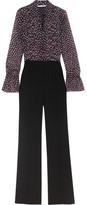 Diane von Furstenberg Ariella Printed Silk-georgette And Crepe Jumpsuit - Black