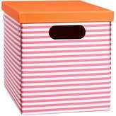 Pottery Barn Teen Striped Printed Storage Bins, Medium, Pink Stripe/Tangerine Trim