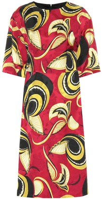 Dries Van Noten Wool-blend printed shift dress