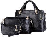 Donaword Women's PUeather Padock Tote Purse Handbag Shouder Bag Set Back