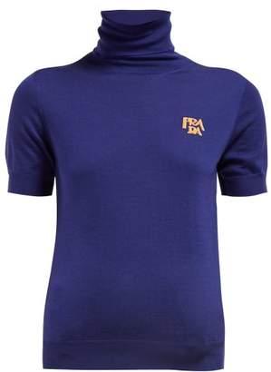 Prada Intarsia-logo Roll-neck Wool Sweater - Womens - Navy