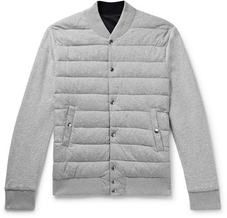 Moncler Reversible Melange Cotton-Jersey And Shell Down Bomber Jacket