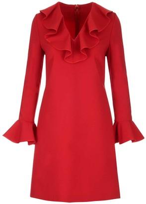 Valentino Ruffle Trim Shift Dress