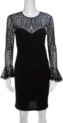 Emilio Pucci Black Lace Bodice Detail Wool Dress S