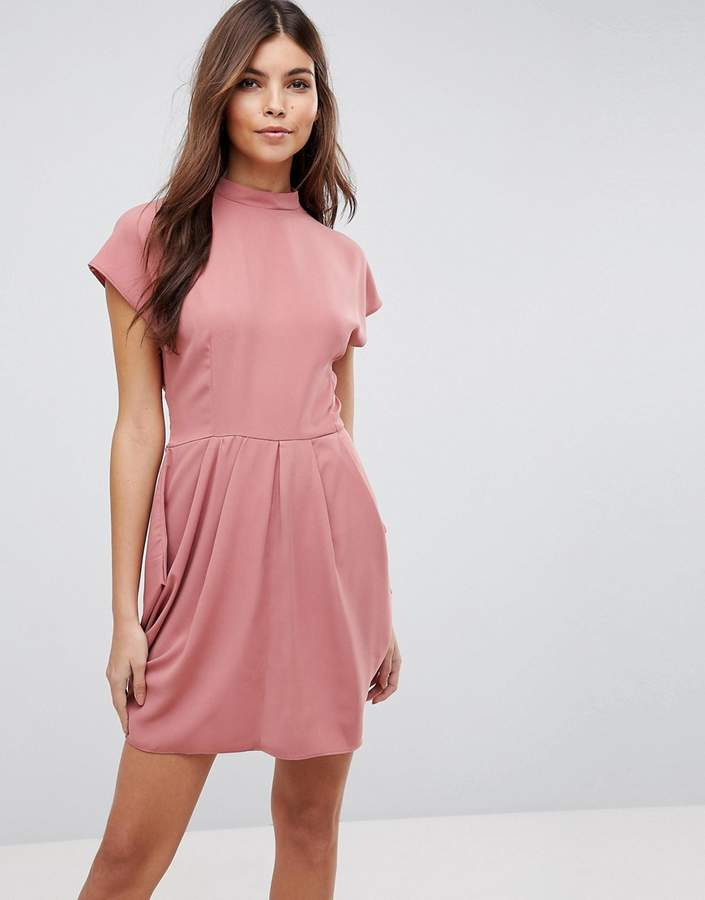 Asos Design Cap Sleeve High Neck Tulip mini dress