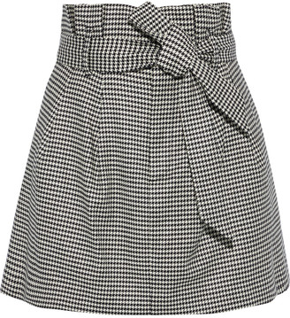 Alice + Olivia Zoya Belted Houndstooth Woven Mini Skirt