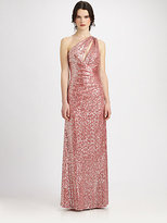Aidan Mattox One-Shoulder Sequined Gown