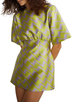 Cynthia Rowley Evanstron Short-Sleeve Brocade Mini Dress