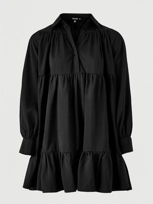 Missguided Frill Poplin Shirt Dress - Black