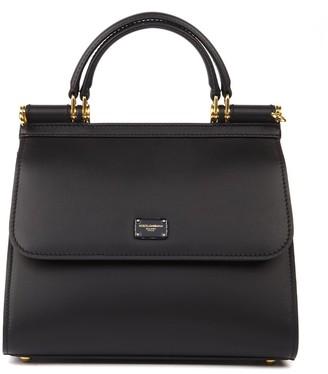 Dolce & Gabbana Black Small Sicily 58 Smooth Leather Handbag