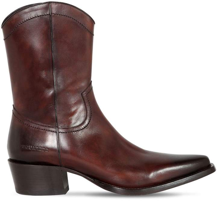 DSQUARED2 50mm Leather Cowboy Boots