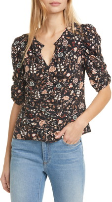 Frame Kate Ruched Floral Silk Top
