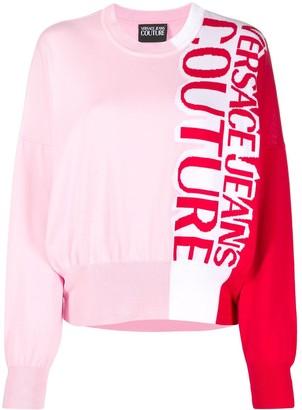 Versace Logo Colour-Block Jumper