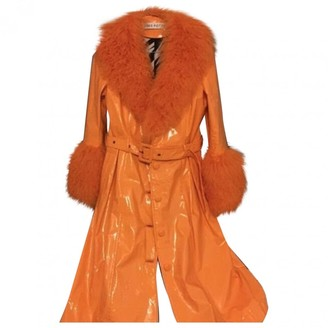 Saks Potts Orange Fur Jacket for Women