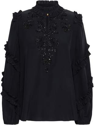 Figue Ruffle-trimmed Embellished Silk Crepe De Chine Blouse