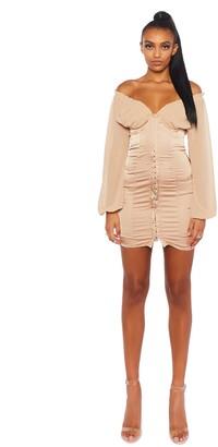 Public Desire Uk Satin Mini Dress with Corset Details
