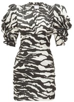 Isabel Marant Farah Puff-sleeve Tiger-print Silk-blend Dress - Womens - Black White