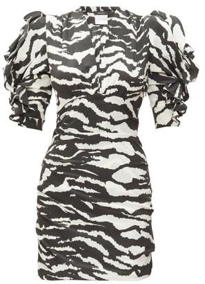 Isabel Marant Farah Puff-sleeve Tiger-print Silk-blend Dress - Black White