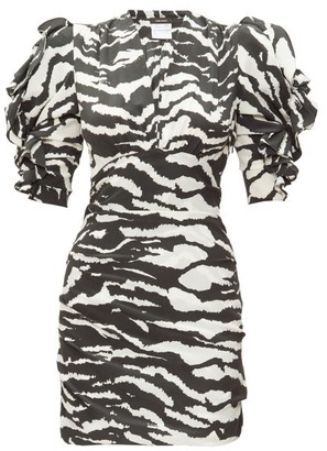 Isabel Marant Farah Puff-sleeve Tiger-print Silk-blend Dress - Womens - Black White