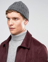 Asos Lambswool Cable Fisherman Beanie In Charcoal