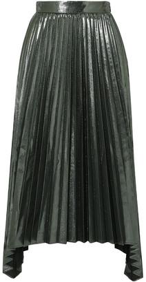 Altuzarra Freya Asymmetric Pleated Lame Midi Skirt