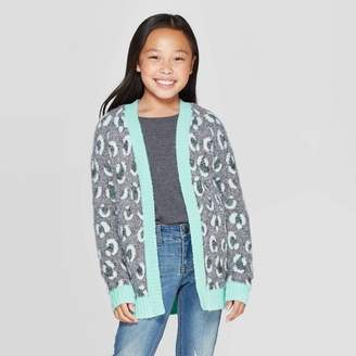 Cat & Jack Girls' Long Sleeve Animal Print Open Layering Sweater Green
