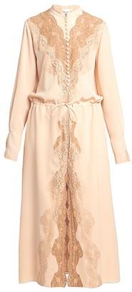 Chloé Crepe De Chine Silk Lace Midi Dress