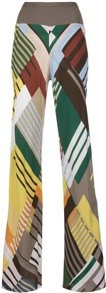 Rick Owens Colour Block Wide Leg Trousers