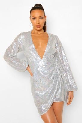boohoo Tall Sequin Wrap Balloon Sleeve Mini Dress