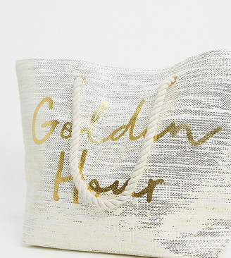 South Beach Exclusive Golden Hour beach bag in gold glitter