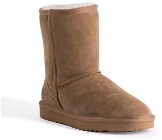 Aus Wooli Ugg Mid Calf Zip-Up Sheepskin Boot - Chestnut/Tan Tan