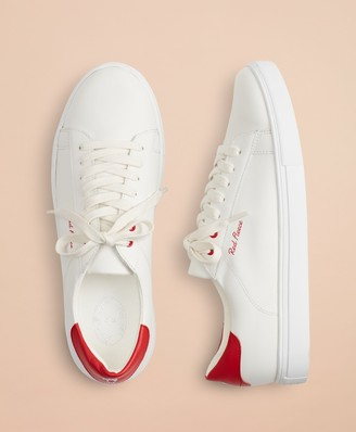 Brooks Brothers Tonal Red Fleece Leather Sneakers