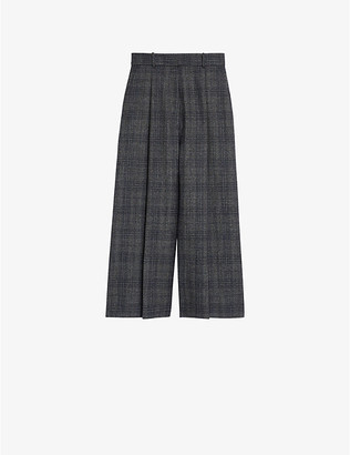 Sandro Checked wide-leg woven trousers