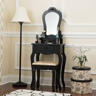 Charlton Home Delafield Elegant 3 Drawer Dressing Table Vanity Set with Mirror Charlton Home