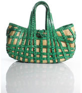 Nancy Gonzalez Green Crocodile Straw Woven 2 Strap Satchel Handbag