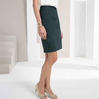 Anne Weyburn Stretch Cotton Satin Pencil Skirt