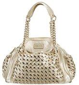 Versace Metallic Woven Leather Shoulder Bag